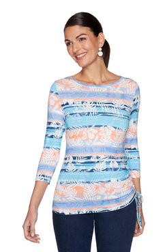 Image: Ruched Watercolor Tropical Striped Top