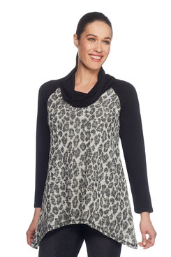 Image: Shimmery Jacquard Print Top