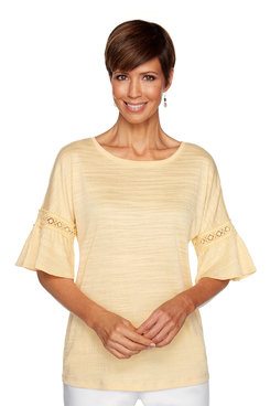 Image: Solid Bell Sleeve Top