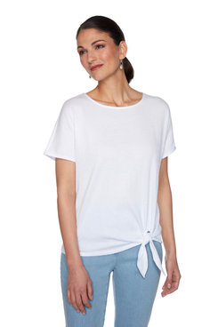 Image: Solid Crinkle Knit Top With Side Tie Hem