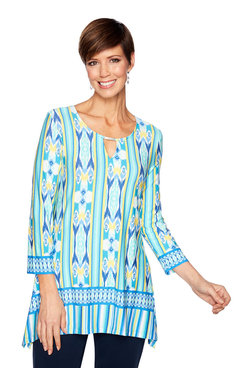 Image: Split-Neck Ikat Print Top