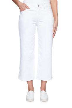 Image: Stretch Denim Wide-Leg Pant