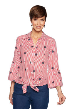 Image: Stripe Embroidered Tied Front Top