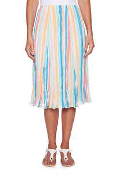 Image: Stripe Print Pleated Yoryu Skirt