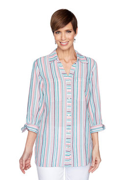 Image: Striped Button-Down Top