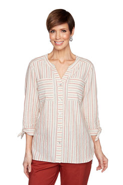 Image: Striped Button-Front Top
