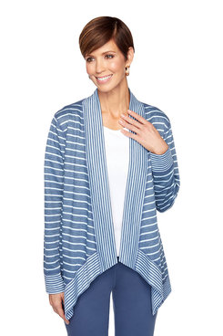 Image: Striped French Terry Cardigan