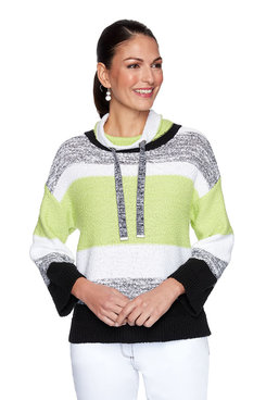 Image: Striped Mock Neck Pullover