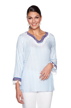 Image: Tassel Trim Stripe Top