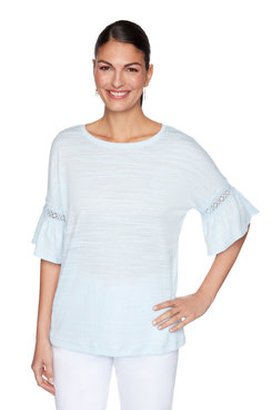 Image: Textured Flounce Sleeve Top