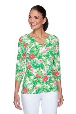 Image: Tropical Floral Print Top