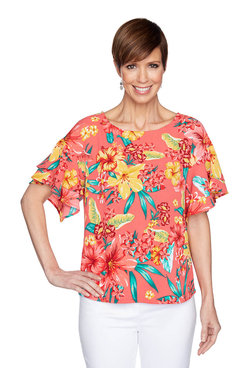 Image: Tropical Flounce Sleeve Top