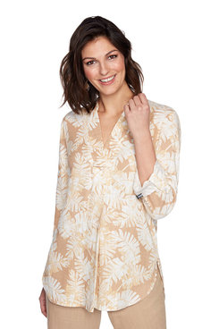 Image: V-Neck Leaf Printed Top