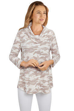 Image: Women's Camo Waffle Knitted Split Cowl Neck Top