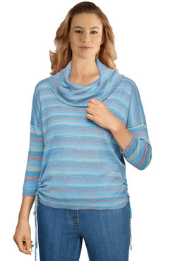 Image: Women's Colorful Striped Space-Dye Ruched Sweater