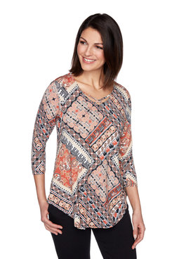 Image: Women's Elephant Patchwork Printed Top