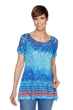 Image: Women's Embellished Burnout Tropical Printed Handkerchief Top