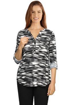 Image: Women's Ikat Printed Henley Button-Front Top