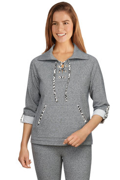 Image: Women's Leopard Trim Lace-Up French Terry Pullover