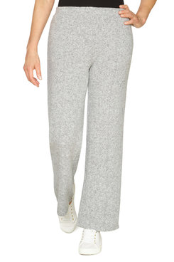 Image: Women's Mid-Rise Pull-On Wide-Leg Heather Knit Pant