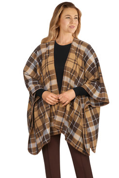 Image: Women's Open-Front Brushed Plaid Poncho