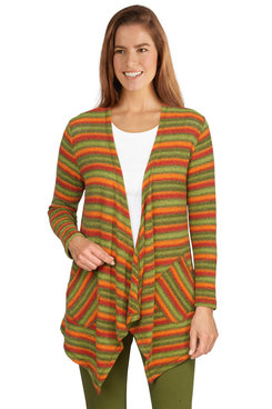 Image: Women's Open-Front Colorful Striped Chenille Cardigan
