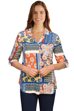 Image: Women's Patchwork Print Woven Button-Front Top