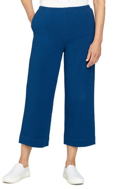 Image: Women's Pull-On French Terry Wide-Leg Ankle Pant