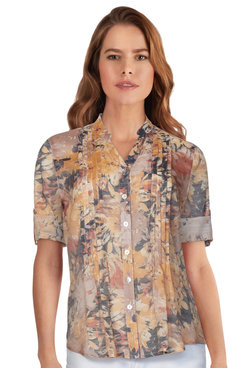 Image: Women's Silky Floral Abstract Button-Front Top