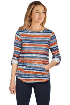 Image: Women's Striped Printed Terry Pullover
