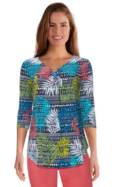 Image: Women's Vibrant Tropical Printed V-Neck Top