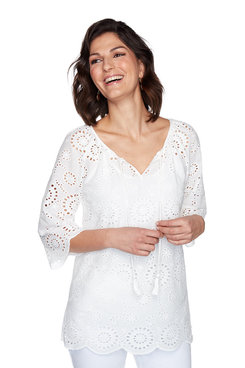 Image: Woven Sunflower Eyelet Top